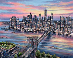 Brooklyn Evening by Phillip Bissell - Original Painting on Box Canvas sized 39x32 inches. Available from Whitewall Galleries